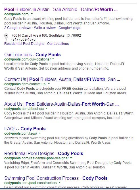 Cody Pools Search Results